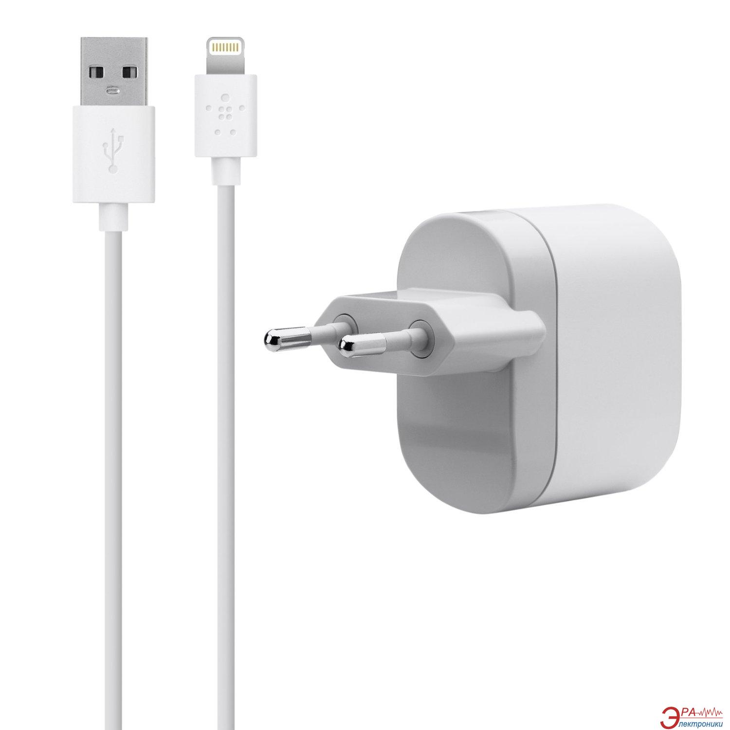 Зарядное устройство Belkin USB Charger (220V + Apple Lightning cable USB 1Amp) White (F8J112vf04-WHT)