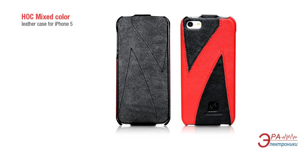 Чехол Hoco iPhone 5 Mixed Color Flip Leather case Black/Red (HI-L021B)