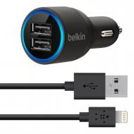 Зарядное устройство Belkin Dual USB MicroCharger (12V + LIGHTNING сable 2 USB x 2.1Amp) Black (F8J071bt04-BLK)