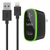 Зарядное устройство Belkin USB Micro Charger (220V + LIGHTNING сable USB 2.1Amp) Black (F8J052vf04-BLK)