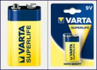Батарейка VARTA SUPERLIFE 6F22 FOL 1 ZINK-CARBON (02022101301)