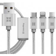 Кабель ColorWay USB-Lightning-MicroUSB-USB Type-C, 1м (CW-CBU3002-GR)