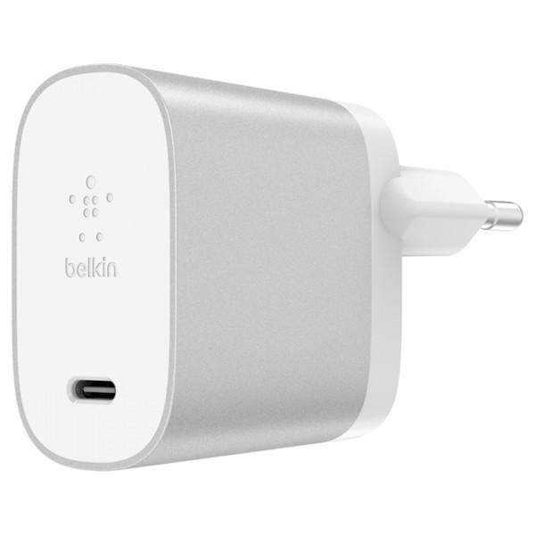 Сетевое зарядное устройство Belkin BOOST CHARGE USB-C with Power Delivery (27W, 3.0A), Silver (F7U060VF-SLV)