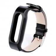 Ремешок для фитнес браслета Xiaomi Mi Band Leather Black ORIGINAL