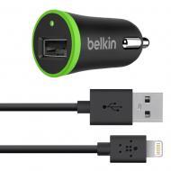 Автомобильное зарядное устройство Belkin USB MicroCharger (12V + LIGHTNING cable USB 1Amp) Black (F8J026bt04-BLK)