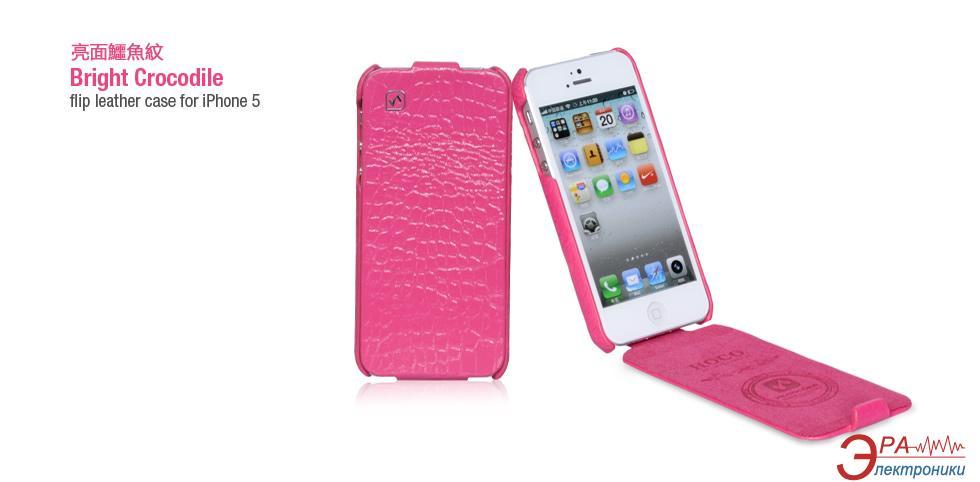 Чехол Hoco iPhone 5 Bright Crocodile Flip Leather case Rose Red (HI-L016RR)
