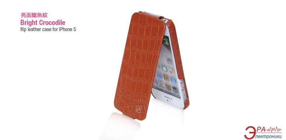 Чехол Hoco iPhone 5 Bright Crocodile Flip Leather case Brown (HI-L016BR)