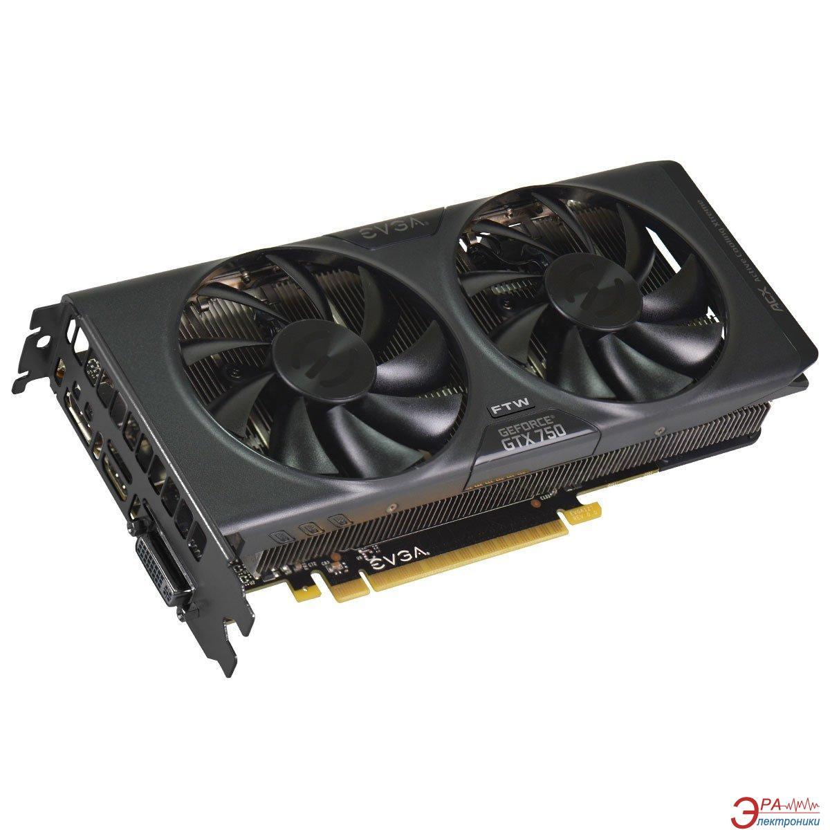 Видеокарта EVGA Nvidia GeForce GTX 750 FTW ACX Cooling GDDR5 1024 Мб (01G-P4-2757-KR)