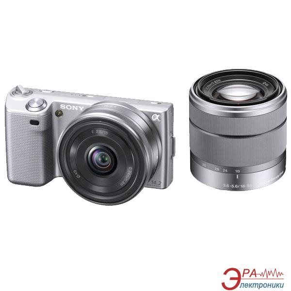 Цифровой фотоаппарат Sony NEX-5 + 16mm KIT + 18-55mm KIT Silver (NEX5DS.CEE2)