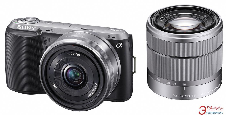 Цифровой фотоаппарат Sony NEX-C3 + объектив 16mm + 18-55mm Black (NEXC3DB.CEE2)