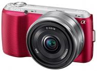 Цифровой фотоаппарат Sony NEX-C3 + объектив 16mm + 18-55mm Pink (NEXC3DP.CEE2)