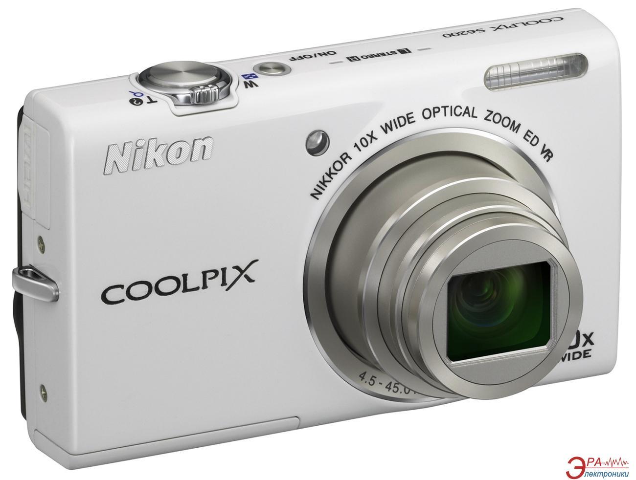 Цифровой фотоаппарат Nikon COOLPIX S6200 White (VMA865E1)