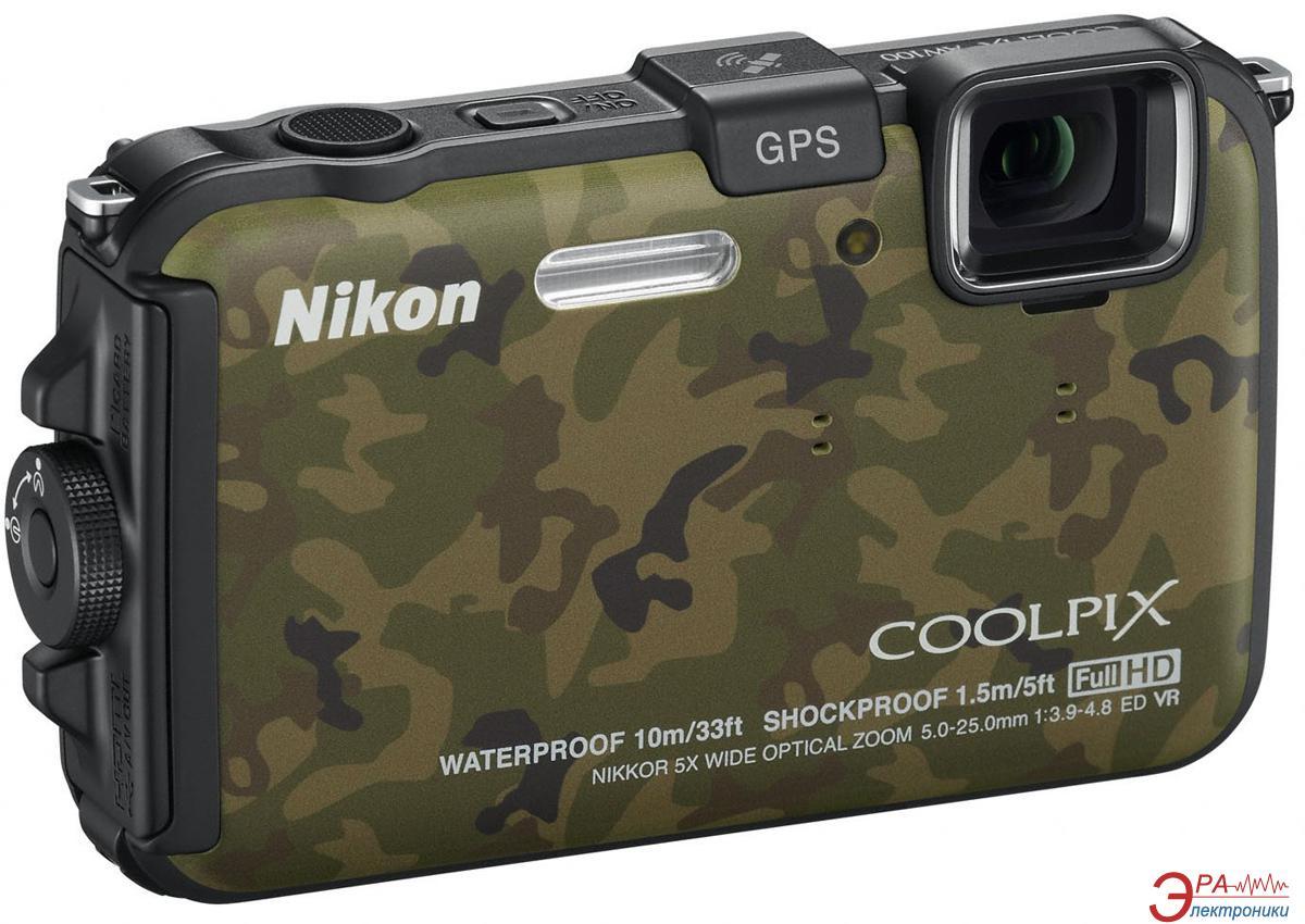 Цифровой фотоаппарат Nikon COOLPIX AW100 CAMOUFLAGE Green (VMA891E1)