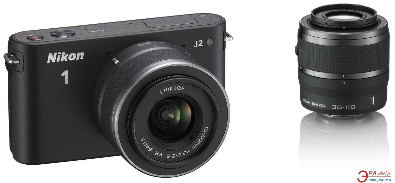 Цифровой фотоаппарат Nikon 1 J2 Kit + 10-30mm + 30-110mm Black (VVA161K003)