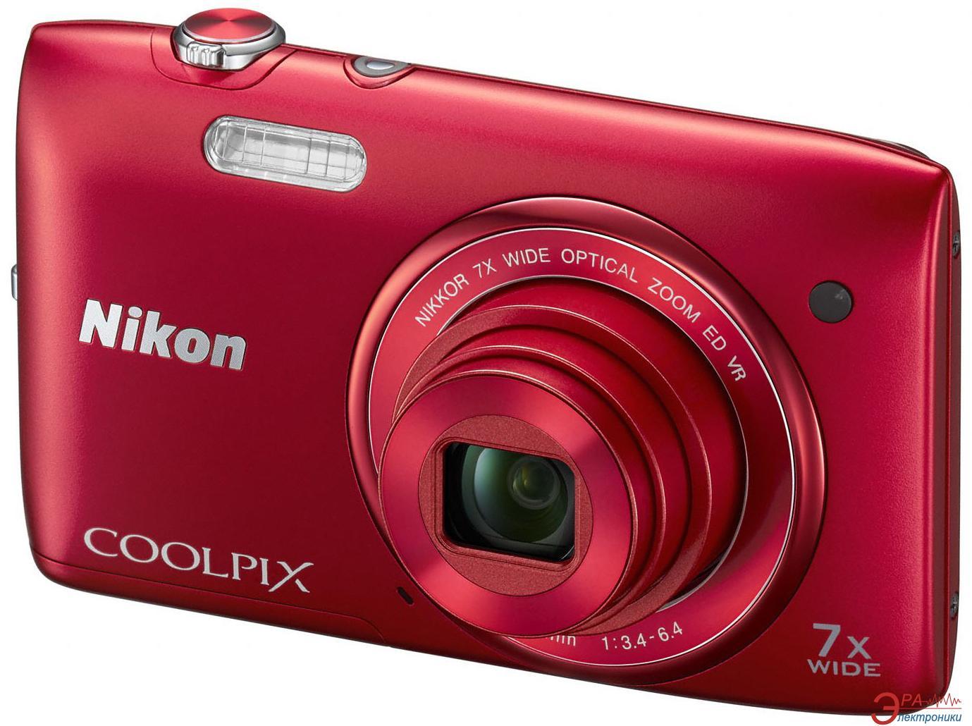 Цифровой фотоаппарат Nikon COOLPIX S3500 Red (VNA292E1)