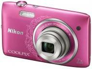 Цифровой фотоаппарат Nikon COOLPIX S3500 Lineart Pink (VNA296E1)