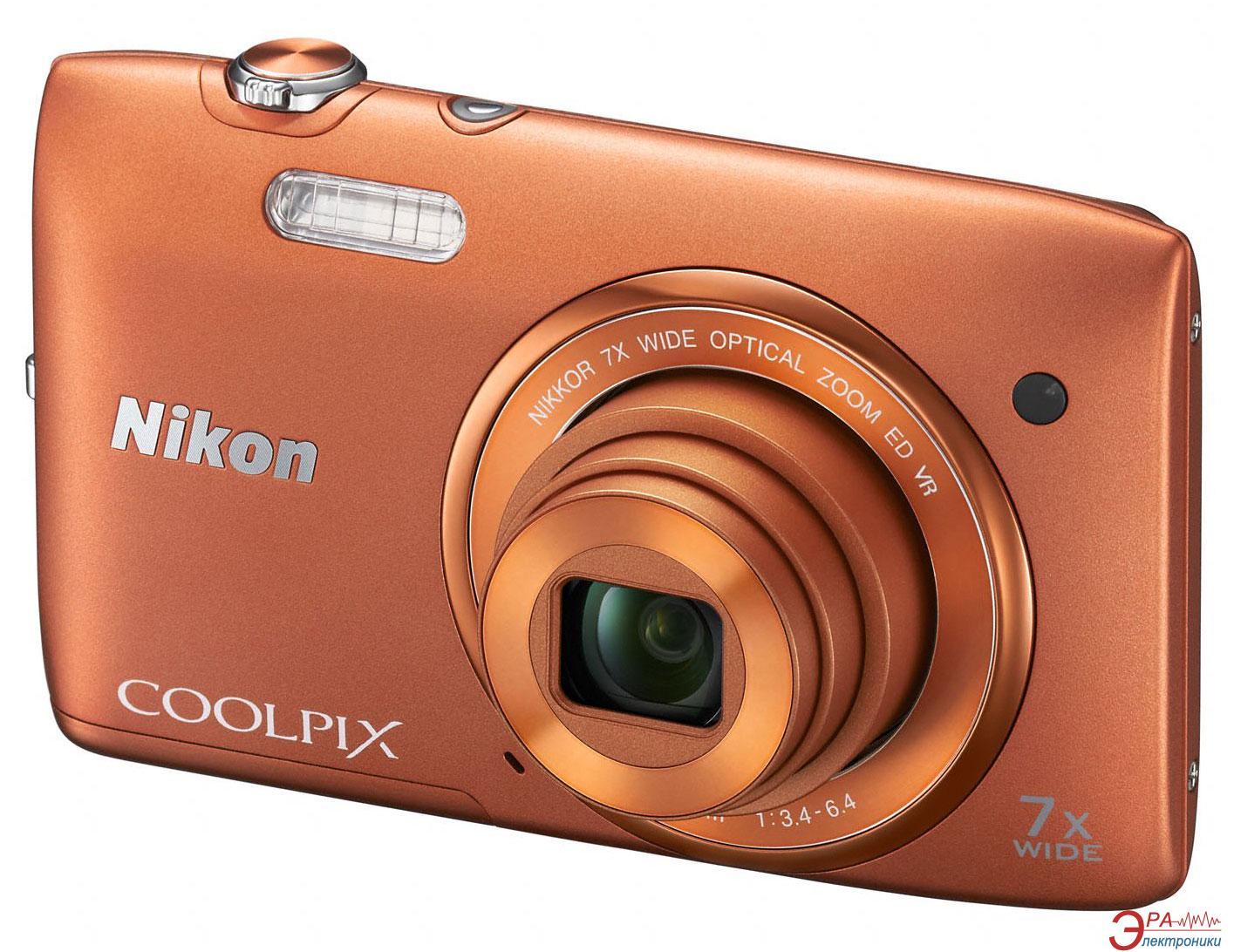 Цифровой фотоаппарат Nikon COOLPIX S3500 Orange (VNA294E1)