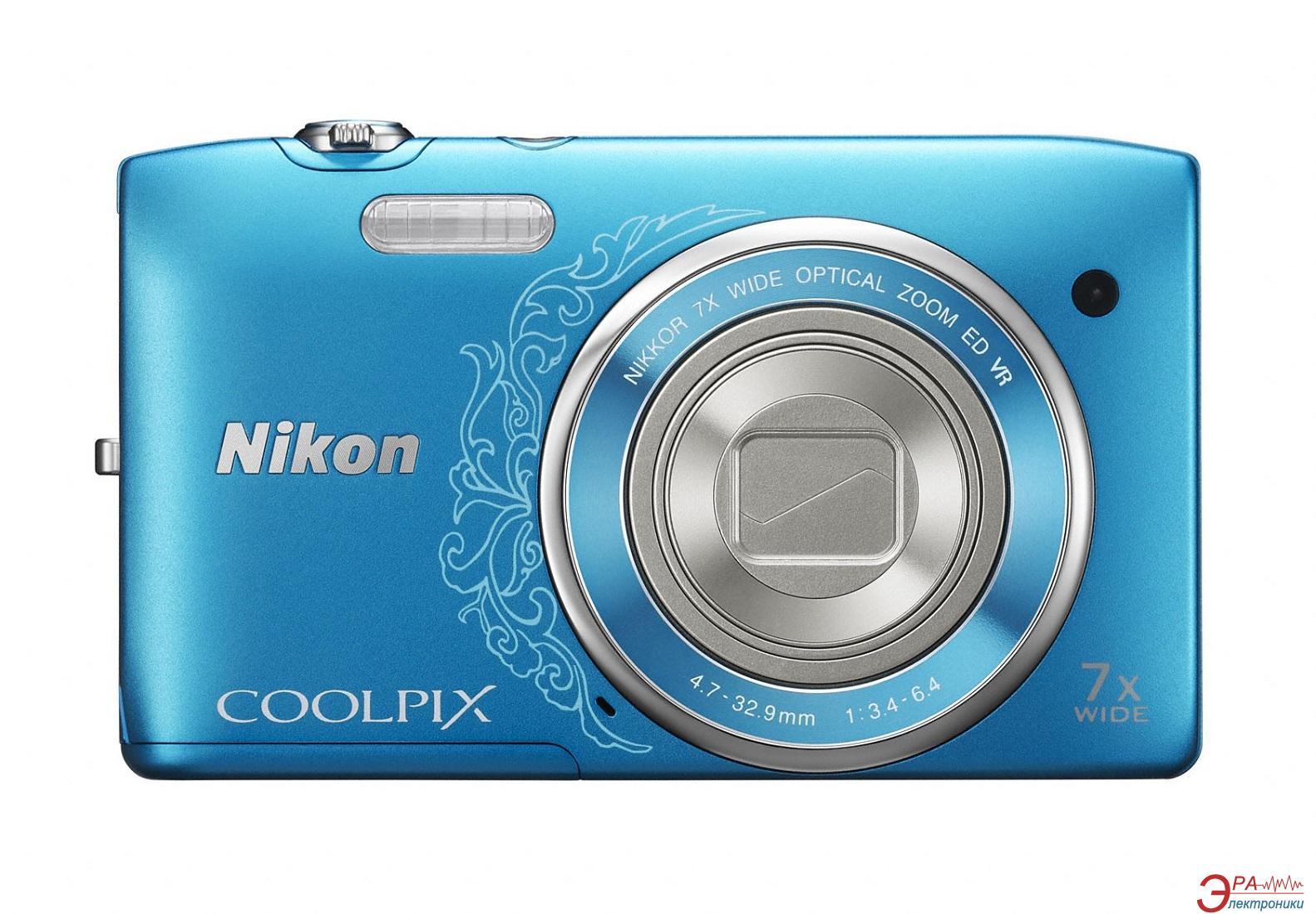 Цифровой фотоаппарат Nikon COOLPIX S3500 Lineart Blue (VNA297E1)