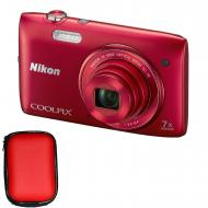 Цифровой фотоаппарат Nikon COOLPIX S3500 Red (VNA292KV01) + чехол