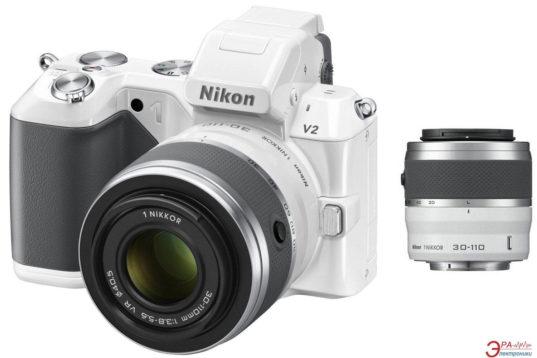 Цифровой фотоаппарат Nikon 1 V2 Kit + 10-30mm + 30-110mm White (VVA112K003)