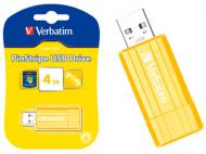 Флеш память USB 2.0 Verbatim 4 Гб PinStripe T-BLIST SUNKISSED YELLOW
