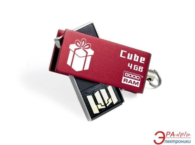Флеш память USB 2.0 Goodram 4 Гб Cube Gift Red (PD4GH2GRCURR9+G)