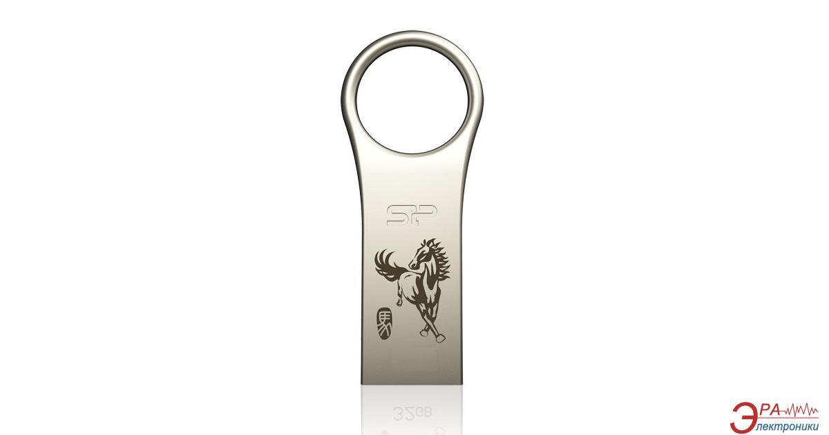 Флеш память USB 2.0 Silicon Power 16 Гб Firma F80 Metal Silver horse-year edition (SP016GBUF2F80V1C14)