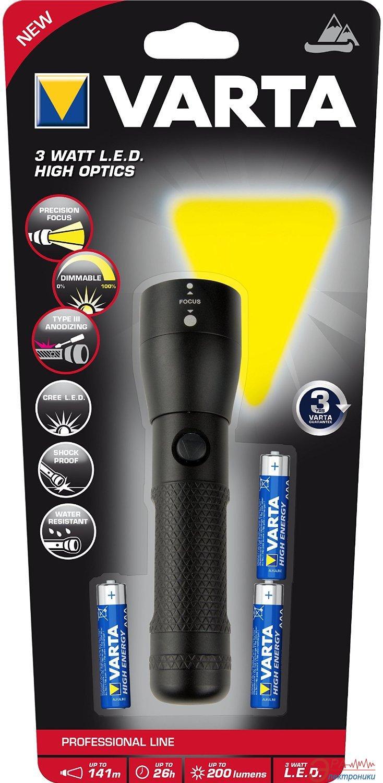 Фонарик Varta 3W LED High Optics Light 3AAA (18810101421)