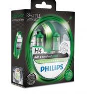 Лампа галогенная Philips H4 ColorVision Green, 3350K, 2шт/блистер (12342CVPGS2)