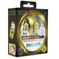Лампа галогенная Philips H4 ColorVision Yellow, 2шт/блистер (12342CVPYS2)