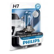 Лампа галогенная Philips H7 WhiteVision +60%, 4300K, 1шт/блистер (12972WHVB1)