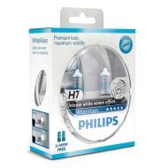 Лампа галогенная Philips H7 WhiteVision +60%, 4300K, 2шт/блистер (12972WHVSM)