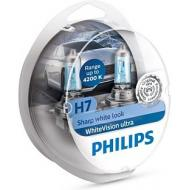 Лампа галогенная Philips H7 WhiteVision Ultra +60%, 4200K, 2шт (12972WVUSM)