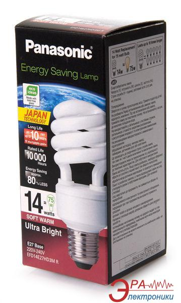Энергосберегающая лампа Panasonic 14W (75W) 2700K E27 (EFD14E27HD3MR)
