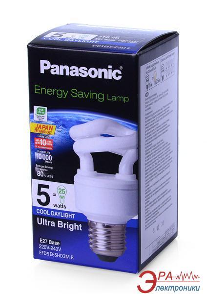 Энергосберегающая лампа Panasonic 5W (25W) 6500K E27 (EFD5E65HD3MR)