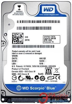 Жесткий диск 640GB WD Scorpio Blue (WD6400BPVT)