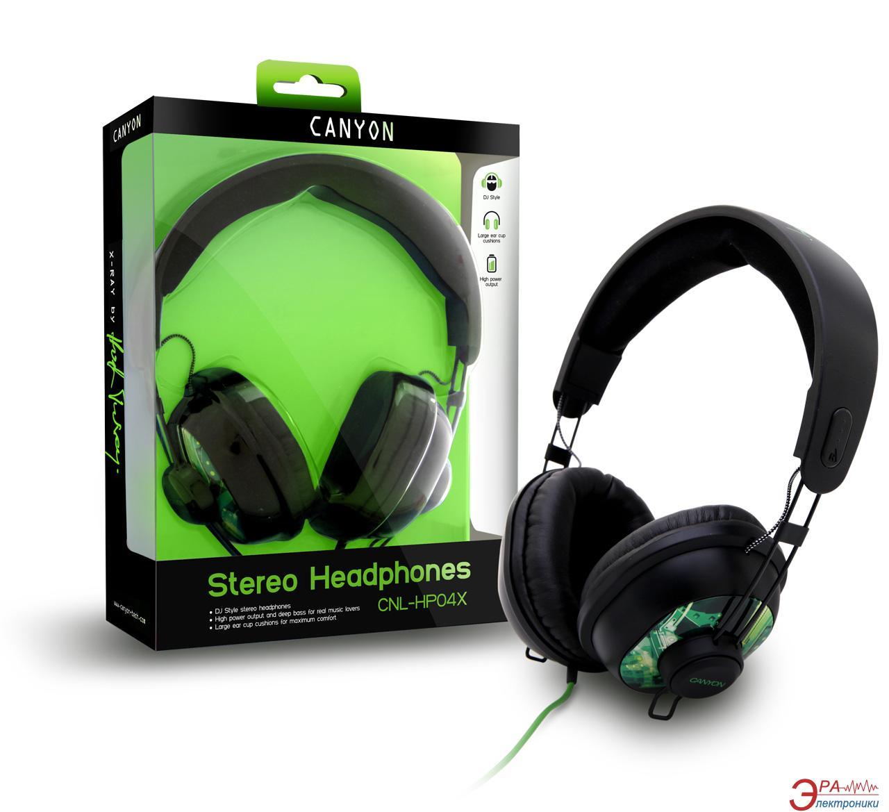 Наушники Canyon CNL-HP04X Black/Green
