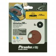 Круг наждачный самоклеющийся Piranha P80, 125mm, 5шт. (X32190)