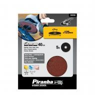 Круг наждачный самоклеющийся Piranha P40, 125mm, 5шт. (X32180)