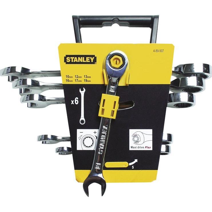 Набор ключей комбинированный с трещоткой Stanley 6 ед. (4-89-907)