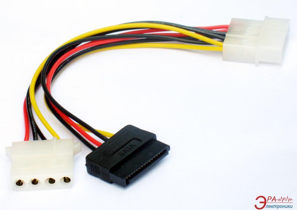 Переходник Gembird (Molex) папа/мама+SATA кабель питания 135mm (CC-SATA-PSY2)