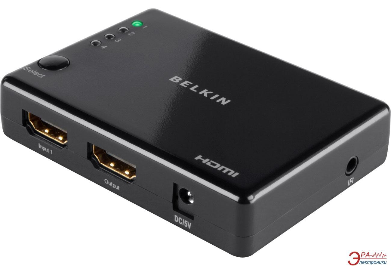 Видеосплиттер Belkin HDMI SwitchBox High Speed w/Ethernet 4-IN/1-OUT Black (F3Y045bf)