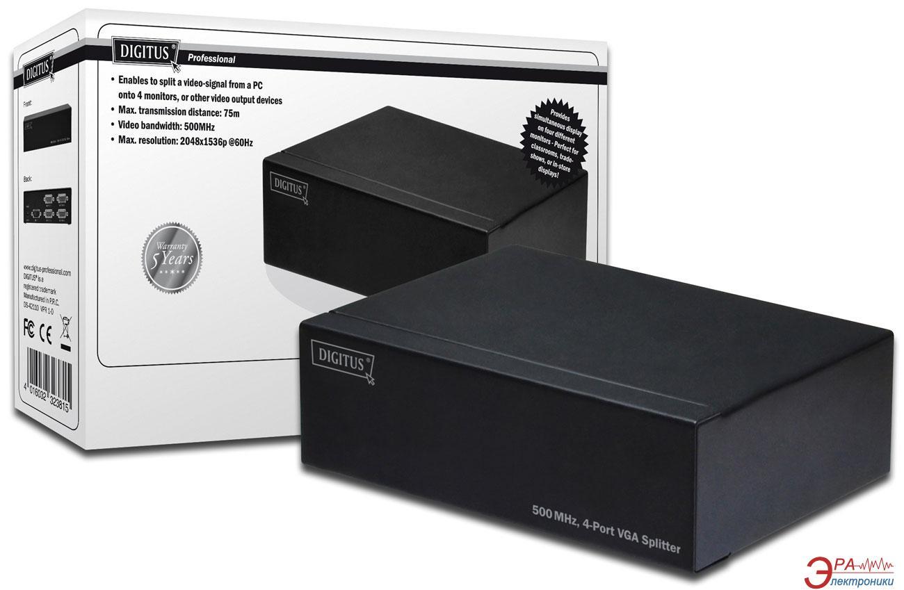 Видеосплиттер Digitus VGA 500MHz (HDSUB 15/M - 4X HDSUB 15/F) (DS-42110)