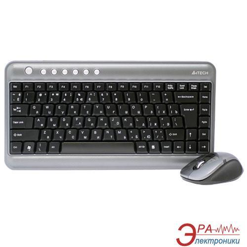 Комплект (клавиатура,мышь) A4Tech WL GL-5630 Silver\Gray
