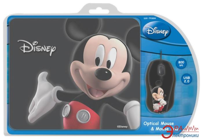 Комплект (мышь+коврик) Cirkuit Planet Mouse + Mouse Pad Disney Mickey 3D (DSY-TP3004) Black