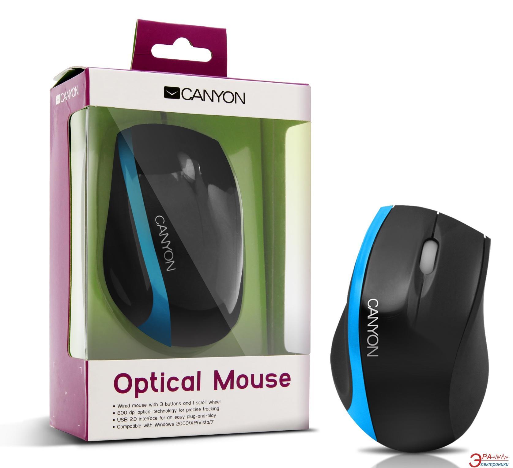 Мышь Canyon CNR-MSO01NBL Black\Blue