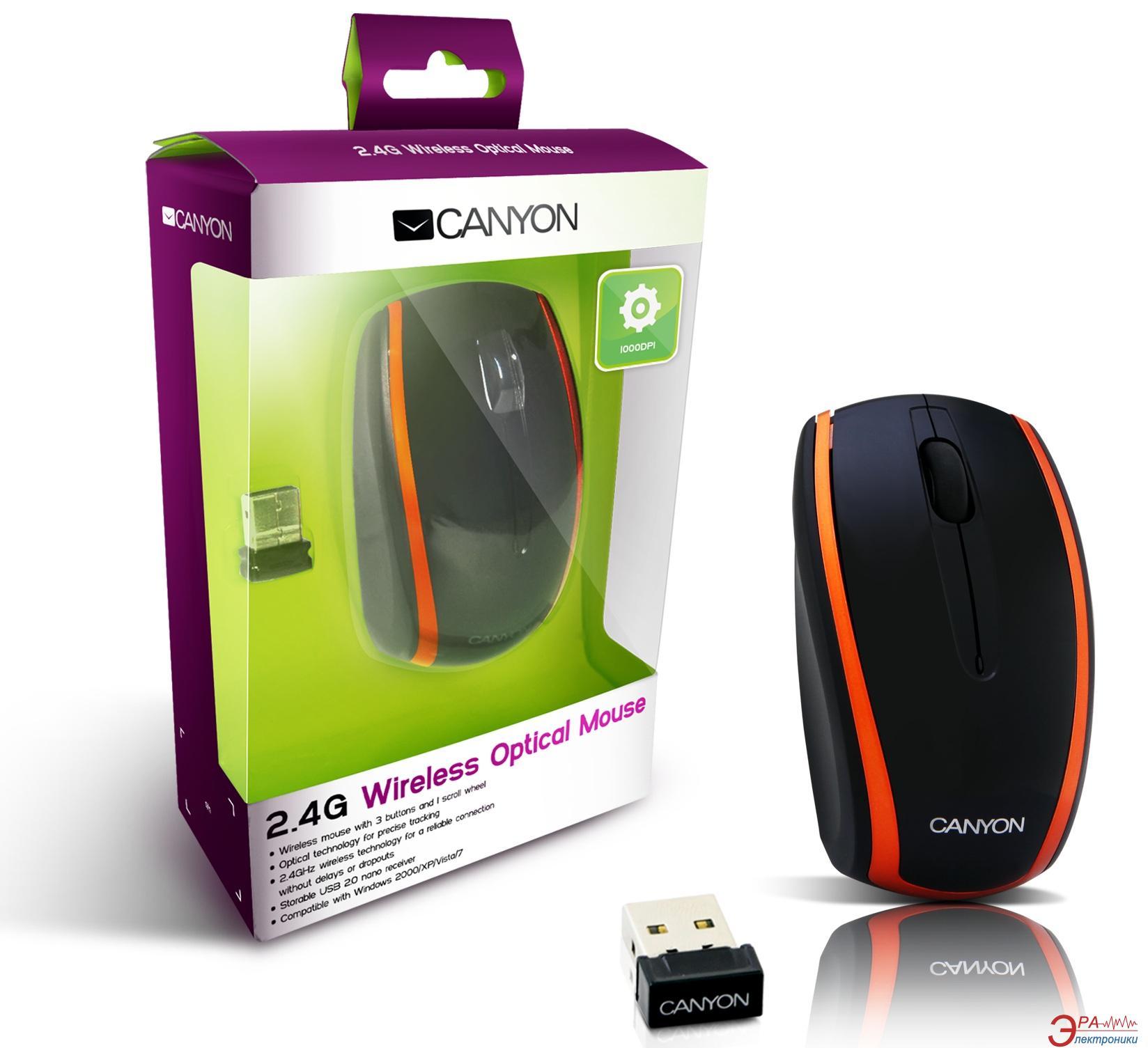 Мышь Canyon CNR-MSOW03NO Black\Orange