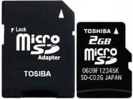����� ������ Toshiba 2Gb microSD + adapter SD (SD-C02GJ(BL3A)