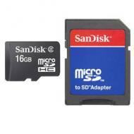 Карта памяти Sandisk 16Gb microSD Class 2 + адаптер SD (SDSDQB-016G-B35)