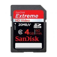 Карта памяти Sandisk 4Gb SD Class 10 HD Video Card eXtreme (SDSDX-004G-X46)